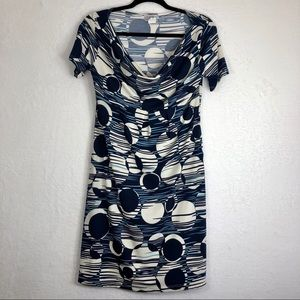 ASSA Blue/White Short Sleeve Dress